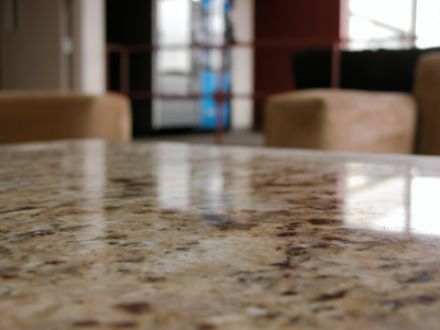 Closeup view of a granite countertop surface