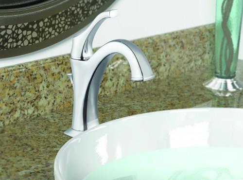 Chrome sink faucet after bathroom renovation