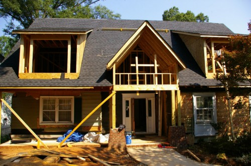 During construction of a home's addition – adding an entire second floor and expanding the porch.