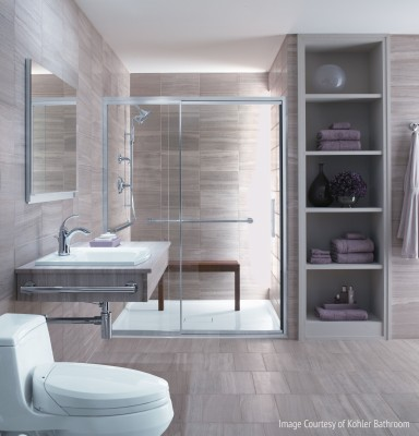 Picture of new remodeled bathroom showing new bathroom design trends like chrome fixtures and neutral tones of gray