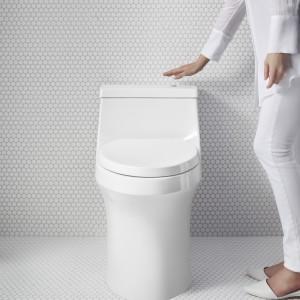 Kohler's San Souci Comfort height touchless toilet with AquaPiston flushing technology