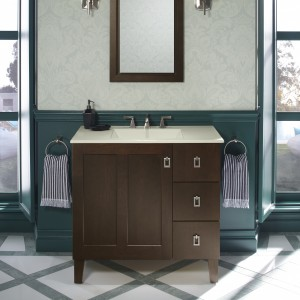 Image of a bathroom remodel using Kohler custom bathroom vanity