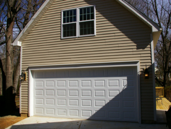 A completed garage addition in Charlotte, NC
