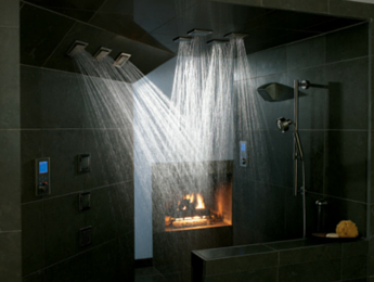 master bathroom renovation with walk in shower and fireplace - Master Showers