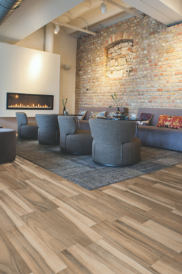 Charlotte, NC flooring contractor work with wood-look tiles