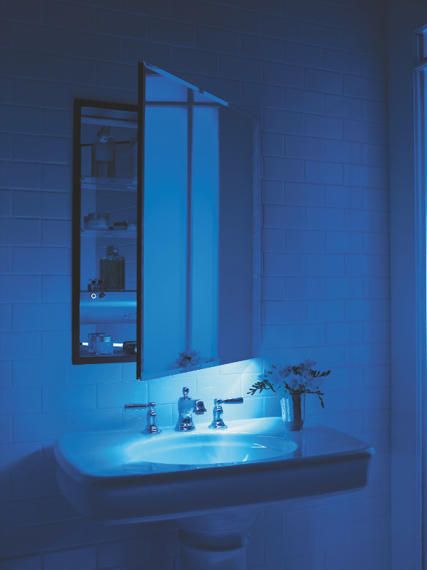 Aging in place bathroom cabinet with programmable night light by Robern