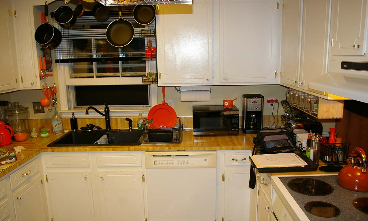Before we remodeled the kitchen it was very small, cramped and dark