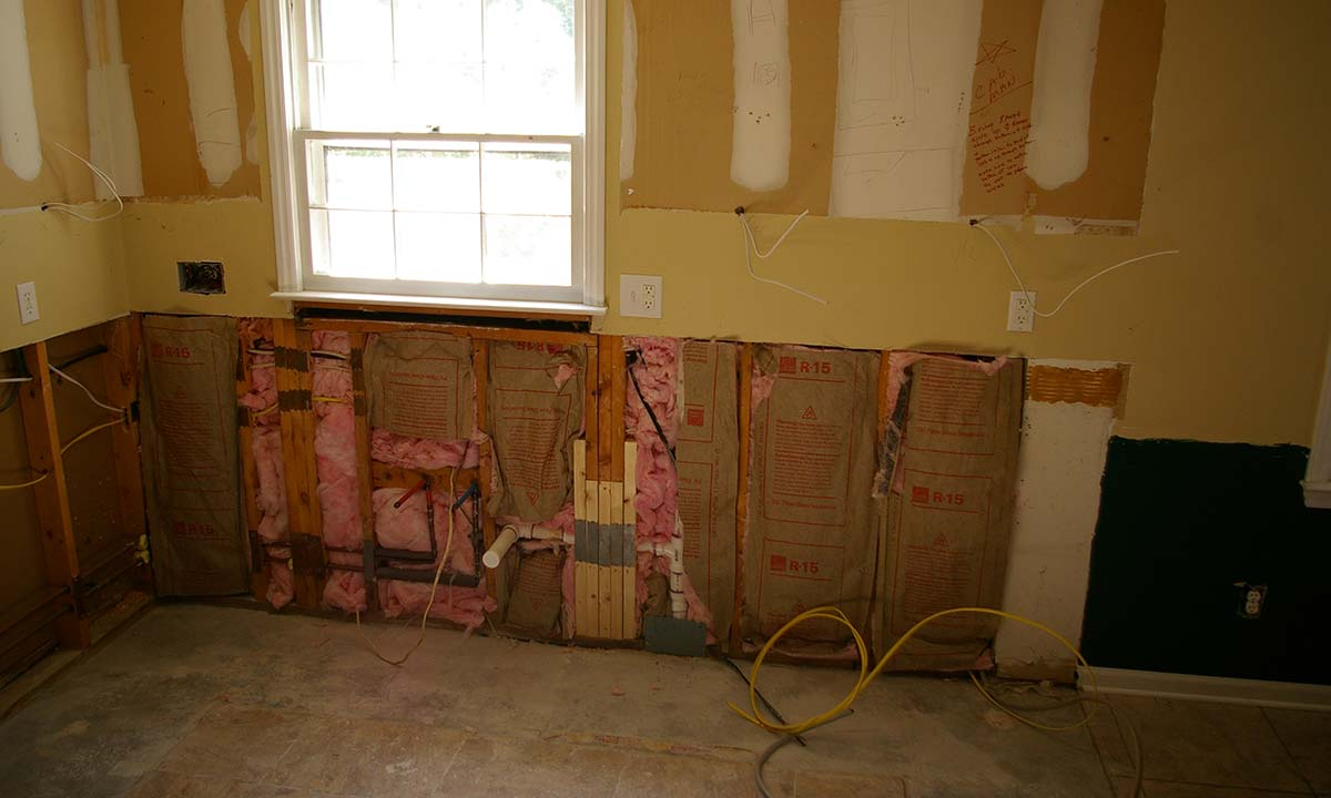 During construction photo of the remodel replacing dead circuits