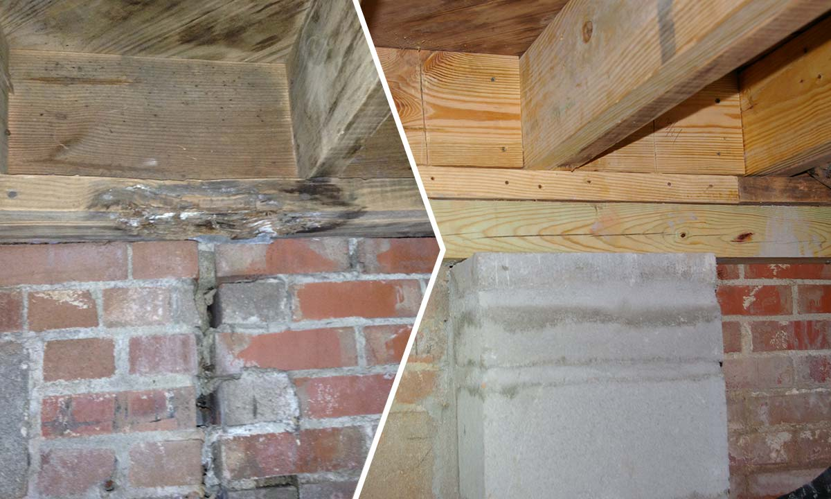 Basement band sill repair – before and after