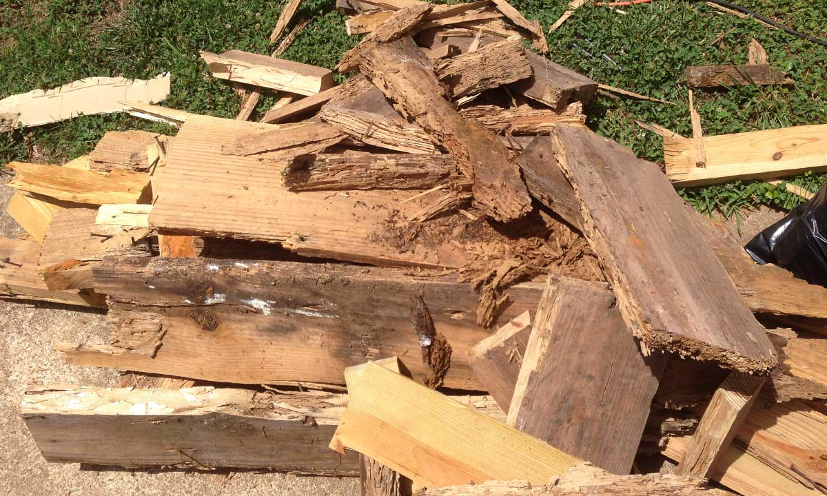 During band sill repair – image of old rotted wood