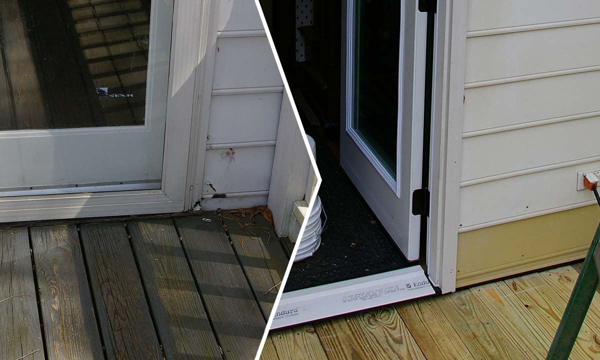 Door frame and band sill damage before and after repair