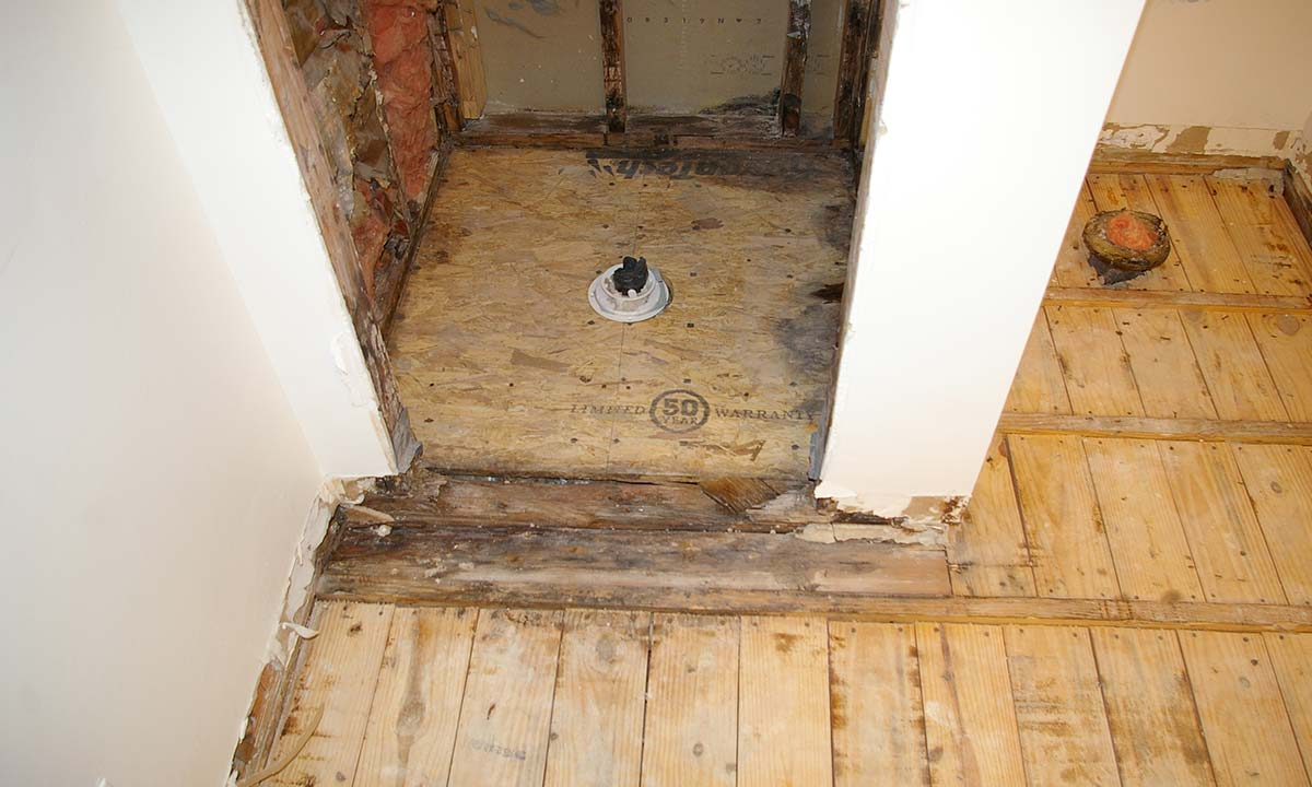 During construction photo of the bathroom renovation