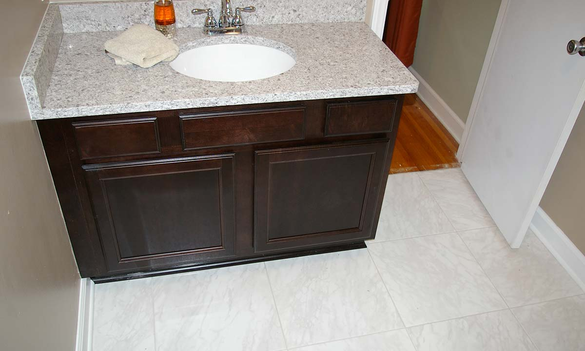 New and upgraded bathroom sink and countertop