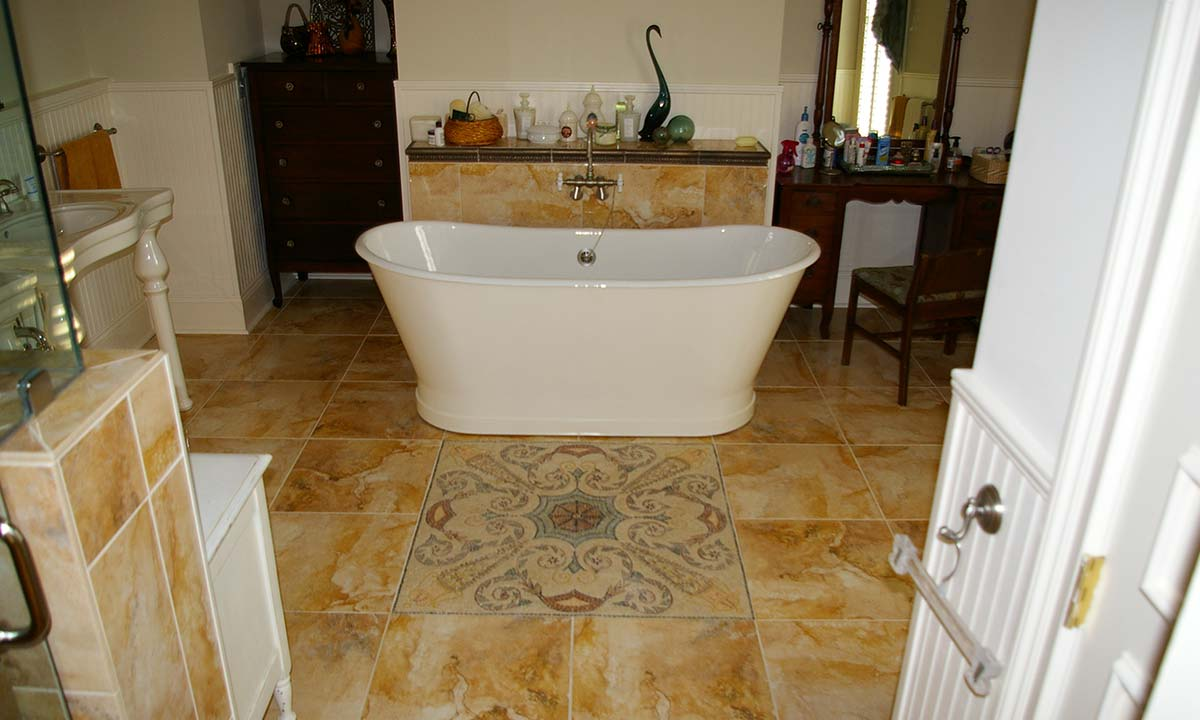 Photo of gorgeous new standalone tub in remodeled master bathroom