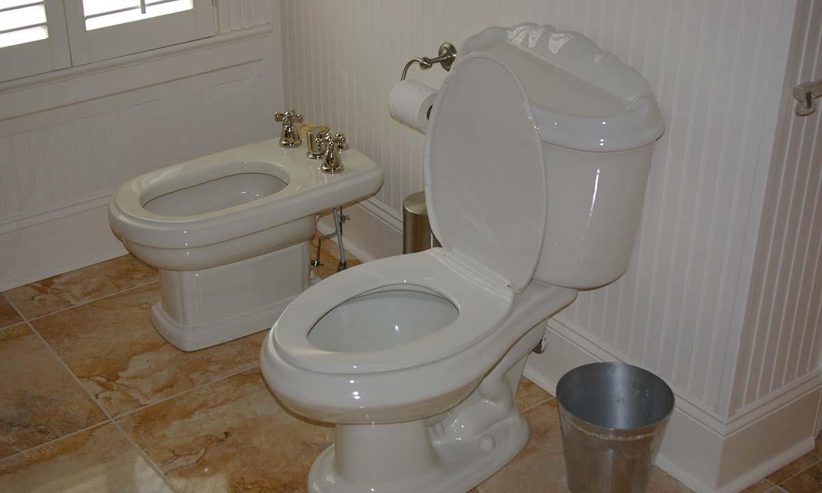 New bathroom tile and washroom amenities