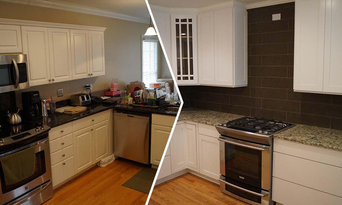 Before and after kitchen remodeling comparison photo