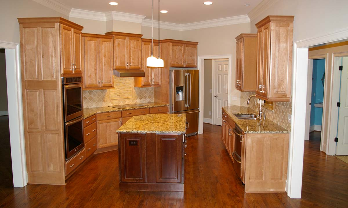 Inside picture of custom kitchen inside custom built brick ranch home in Waxhaw, NC