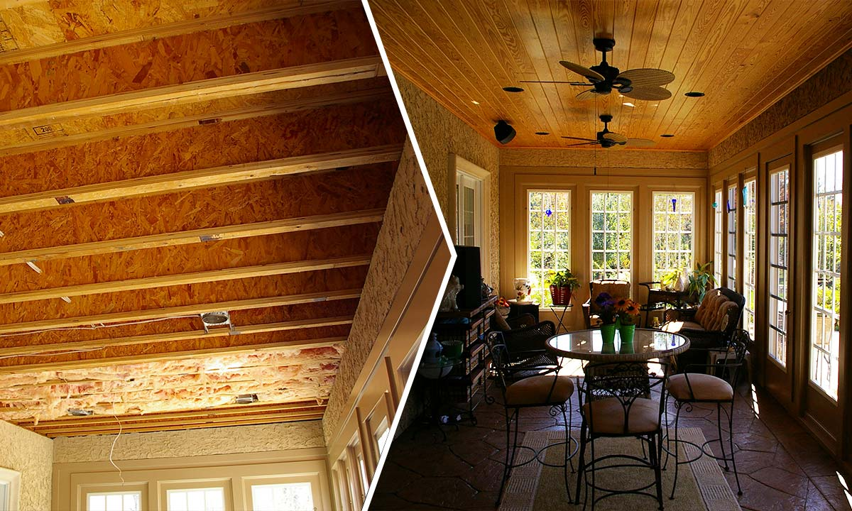 Sunroom ceiling repair before and after