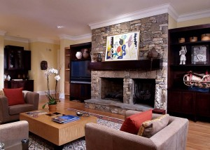 New metropolitan looking family room is a juxtaposition from the previous traditional outdated family room