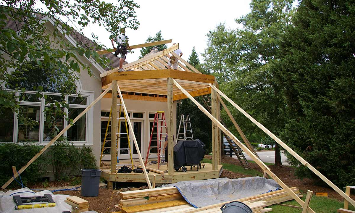 During construction of covered porch