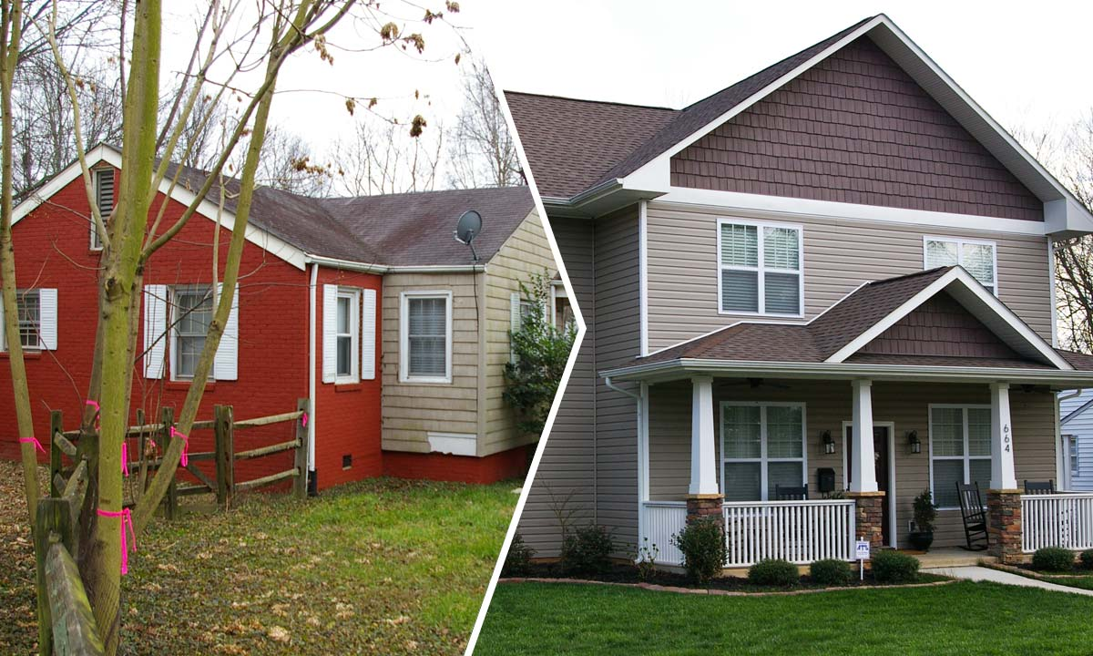 Before and after photos of a new home construction