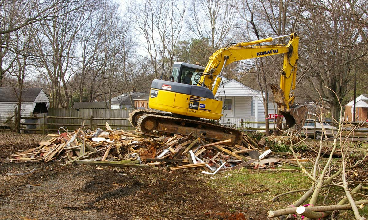 Demolition of previous home before new home construction begins