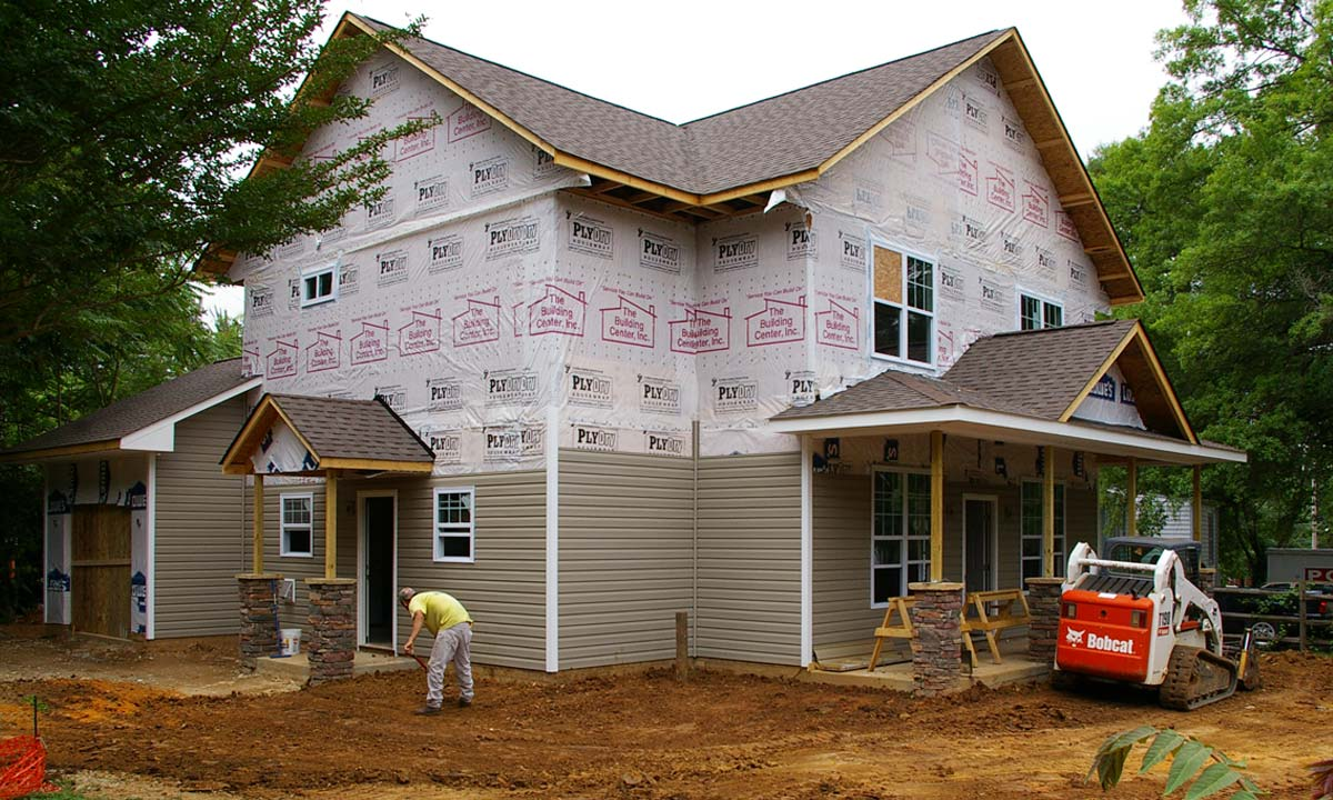 A photo taken during construction of this craftsman-style custom home