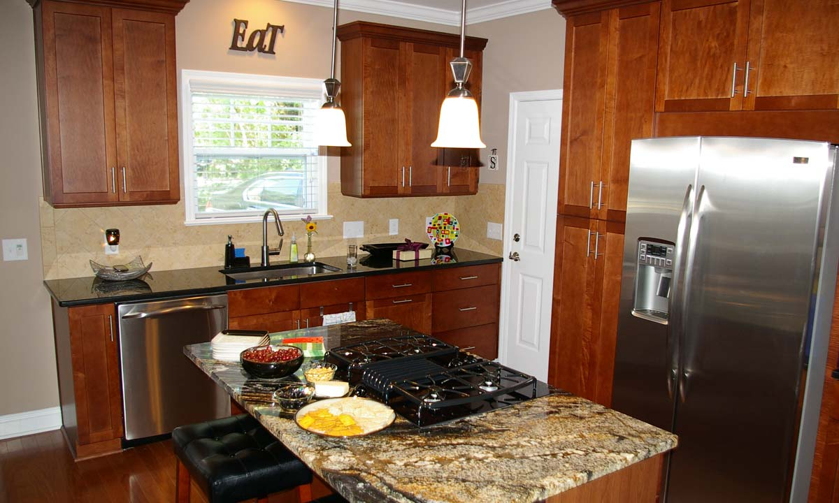 Interior photo of the home's kitchen and kitchen island