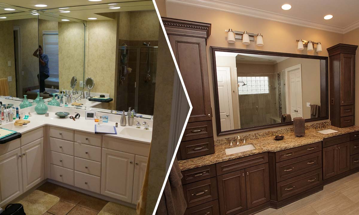 fine master bathroom remodels before and after o throughout