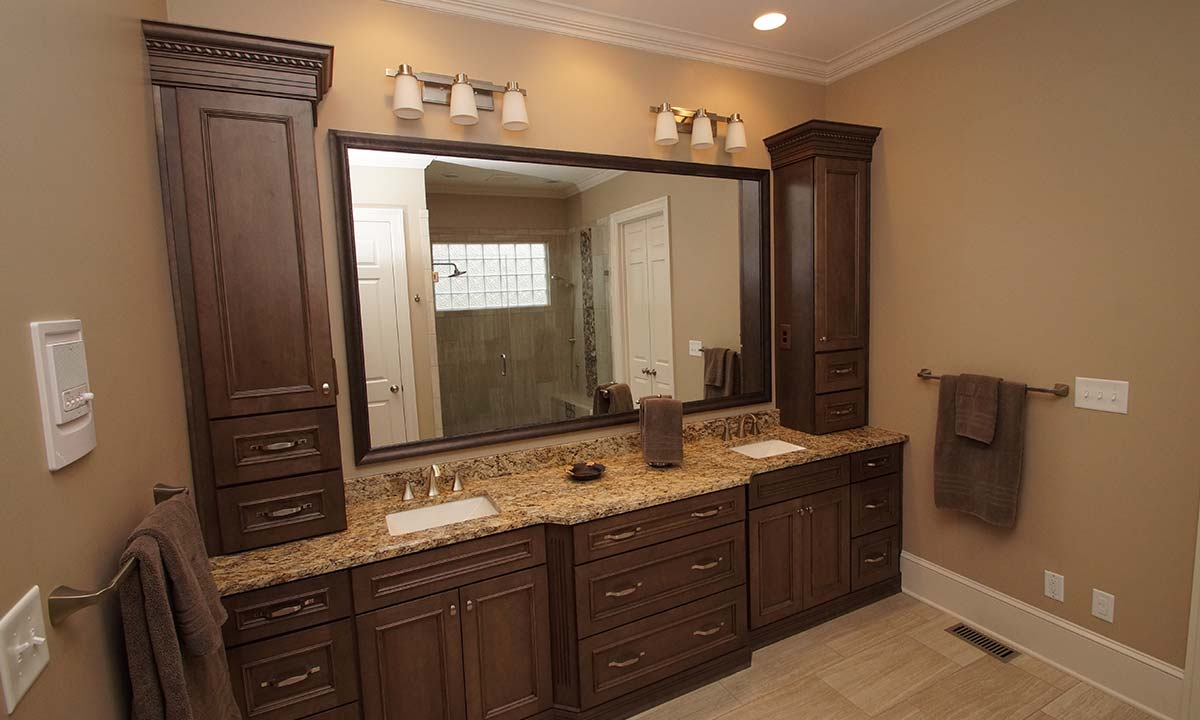 New master bathroom vanity with granite countertop and beautiful mirror