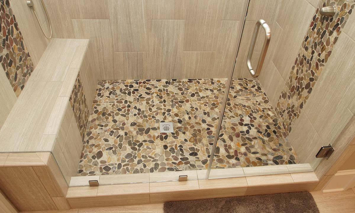 New shower tile floors