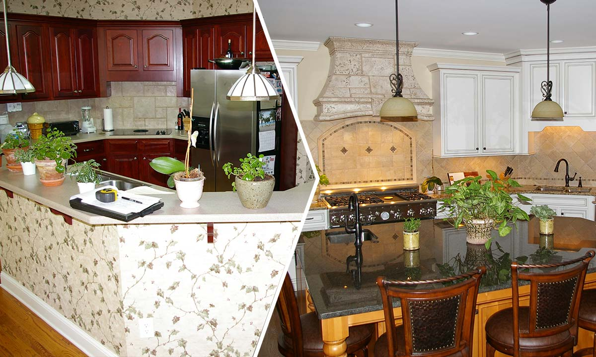 Before and after photos of this kitchen remodeling project