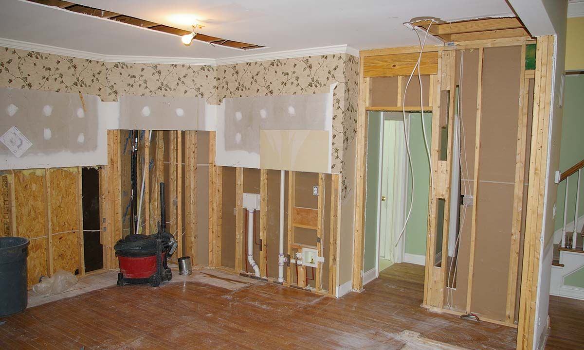 Picture of kitchen update during the remodel's construction process