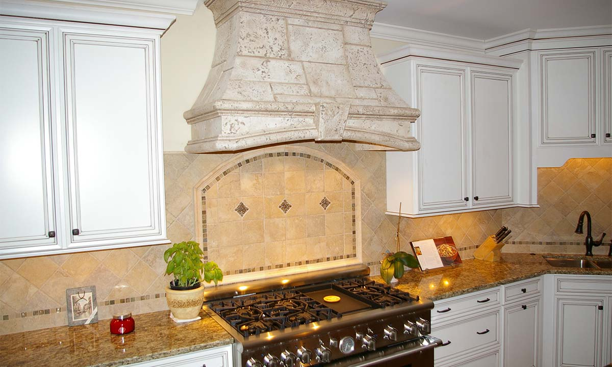 View of the custom tile backsplash used to update the kitchen