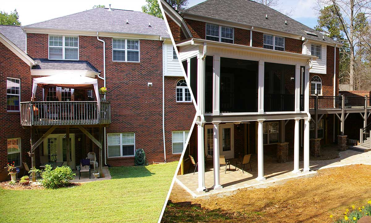 Deck renovation and screened porch addition before and after
