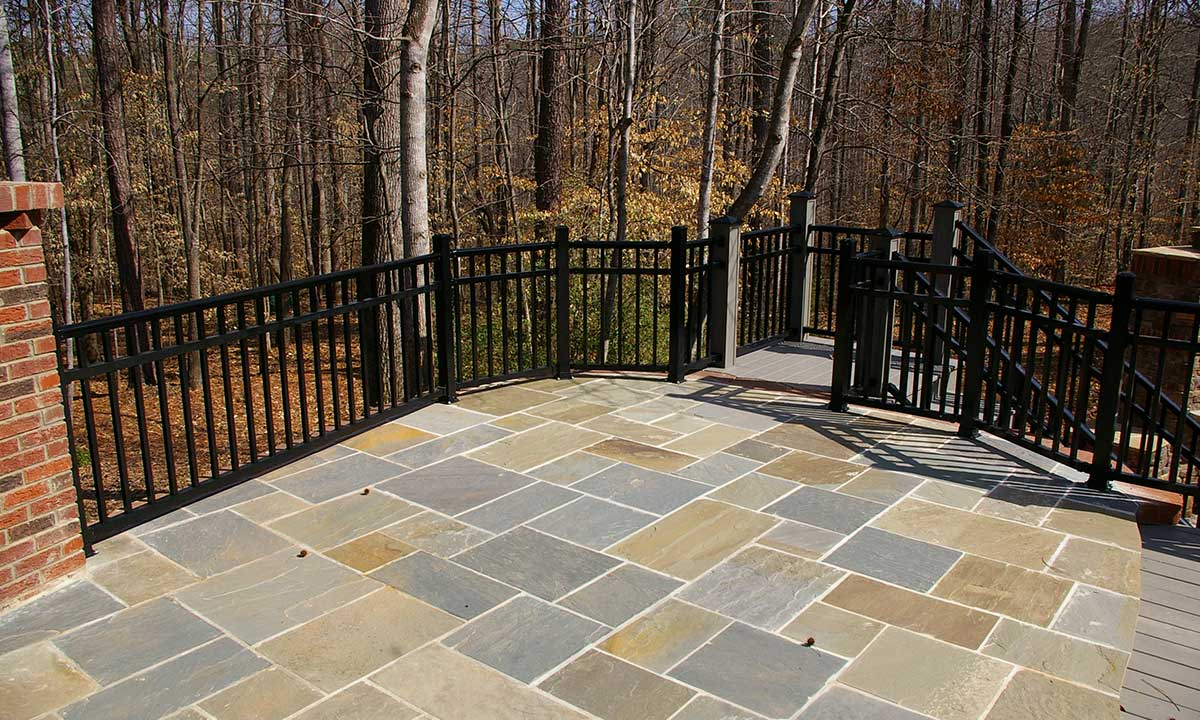 After deck renovation with view of stone terrace