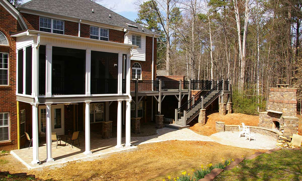 Deck renovation and porch addition near Charlotte, NC