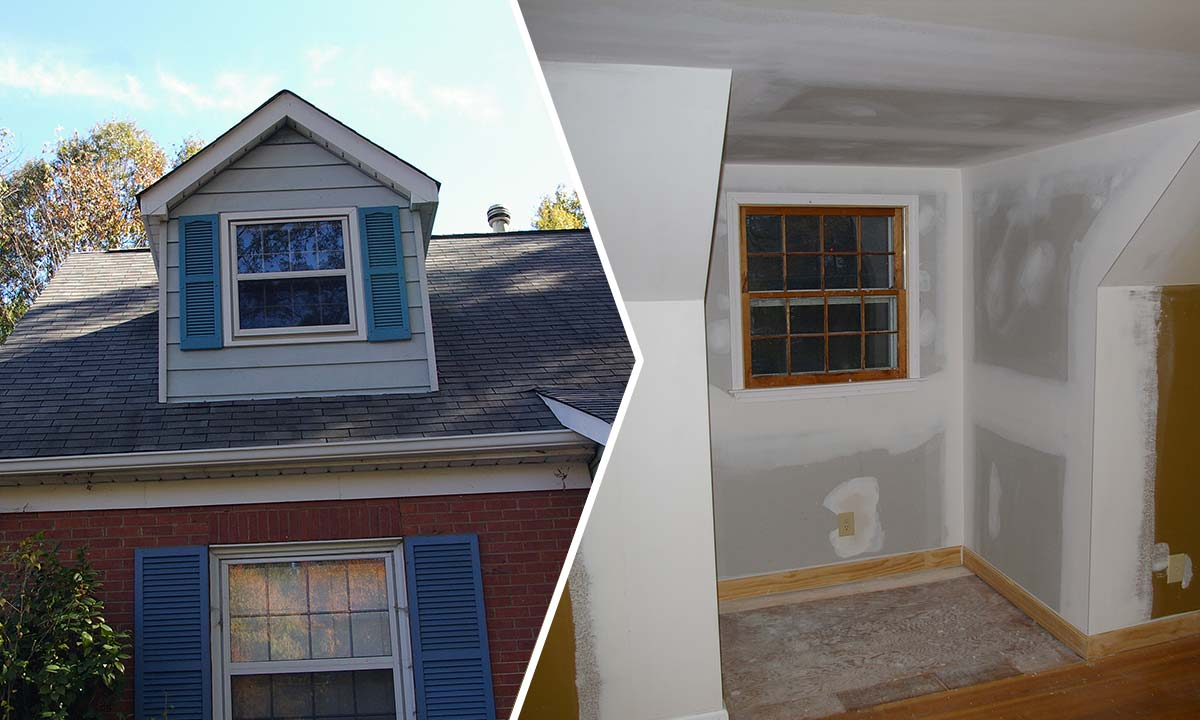 Before and after photos of a dormer renovation