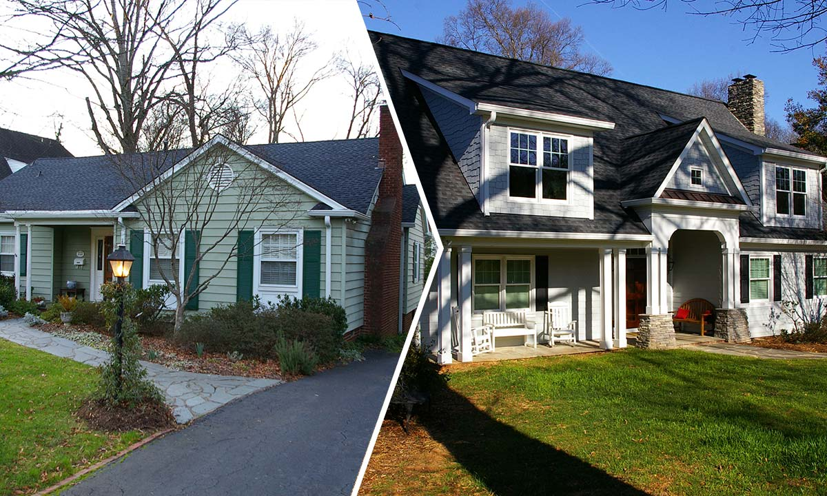 Before and after dramatic home addition of a second floor in Charlotte, NC