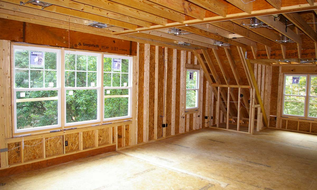 Interior photo of the addition shows the added 1560 square feet of space