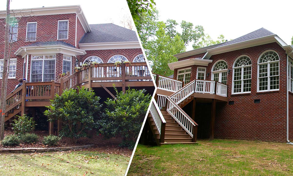 Before and after comparison photo of an extensive home addition and renovation in Charlotte, NC