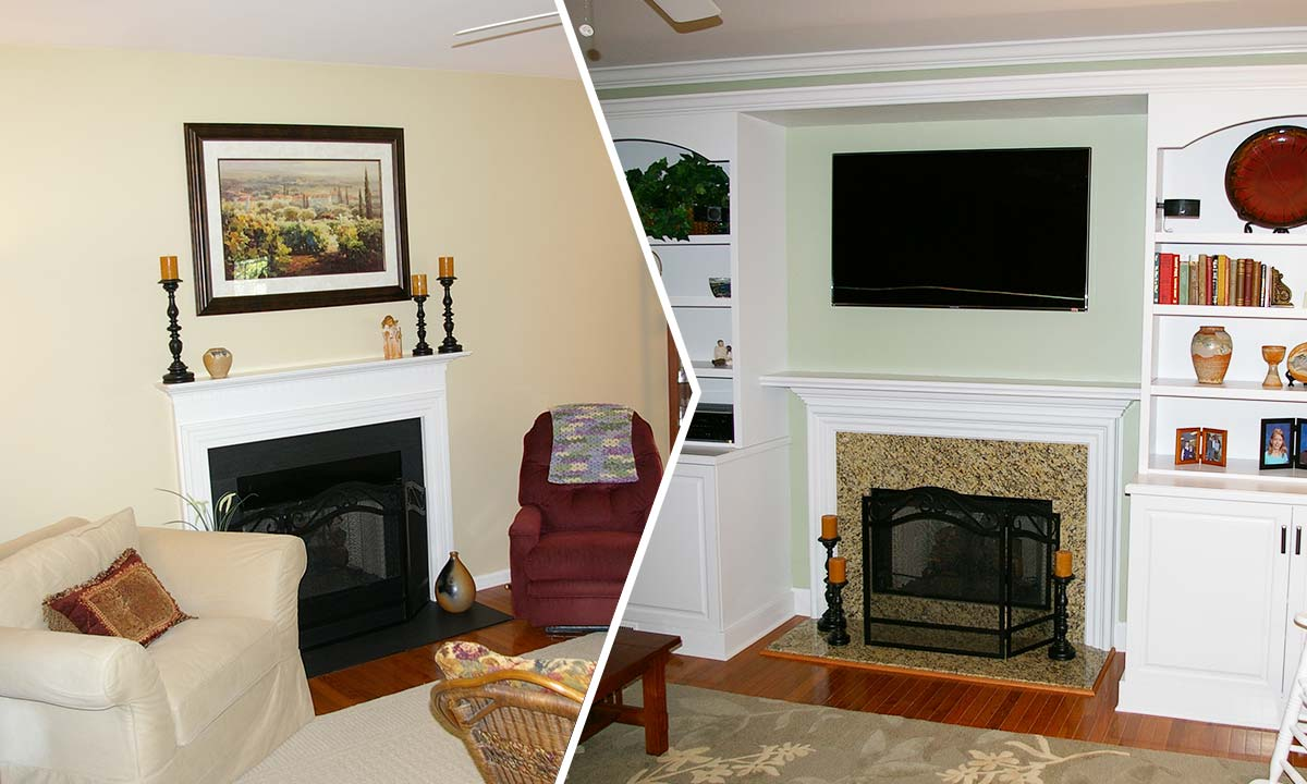 Before and after photo comparison of the family room makeover