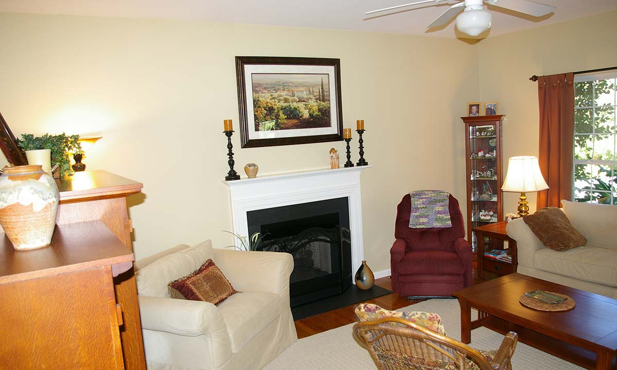 Before renovation shows a family room lacking personality