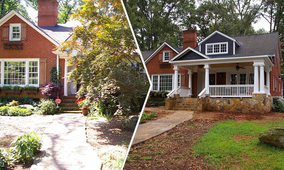 Myers Park front porch addition – before and after