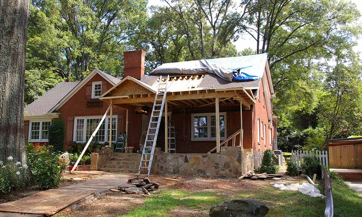 Front porch roof addition construction