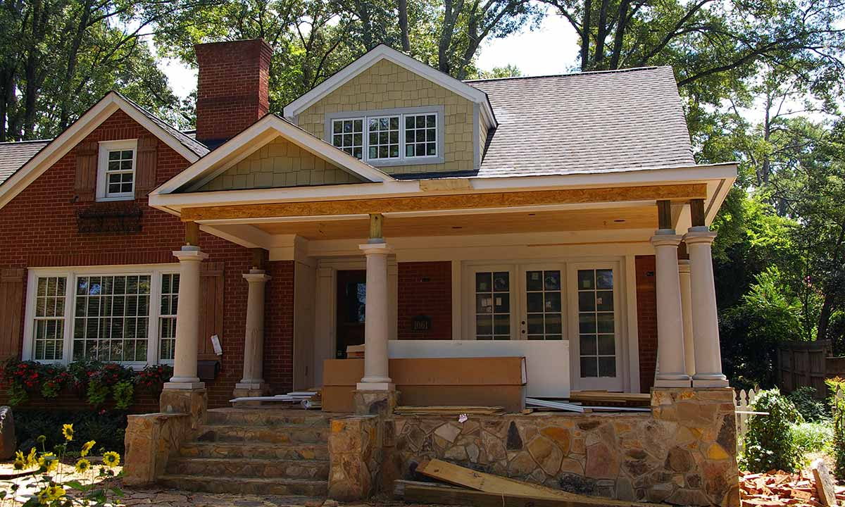 Charlotte front porch addition add curb appeal for Building onto a house