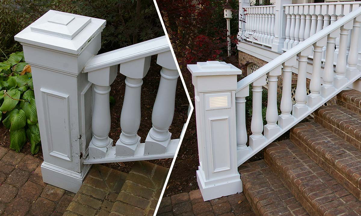 Charlotte, NC front porch railing before and after repairs