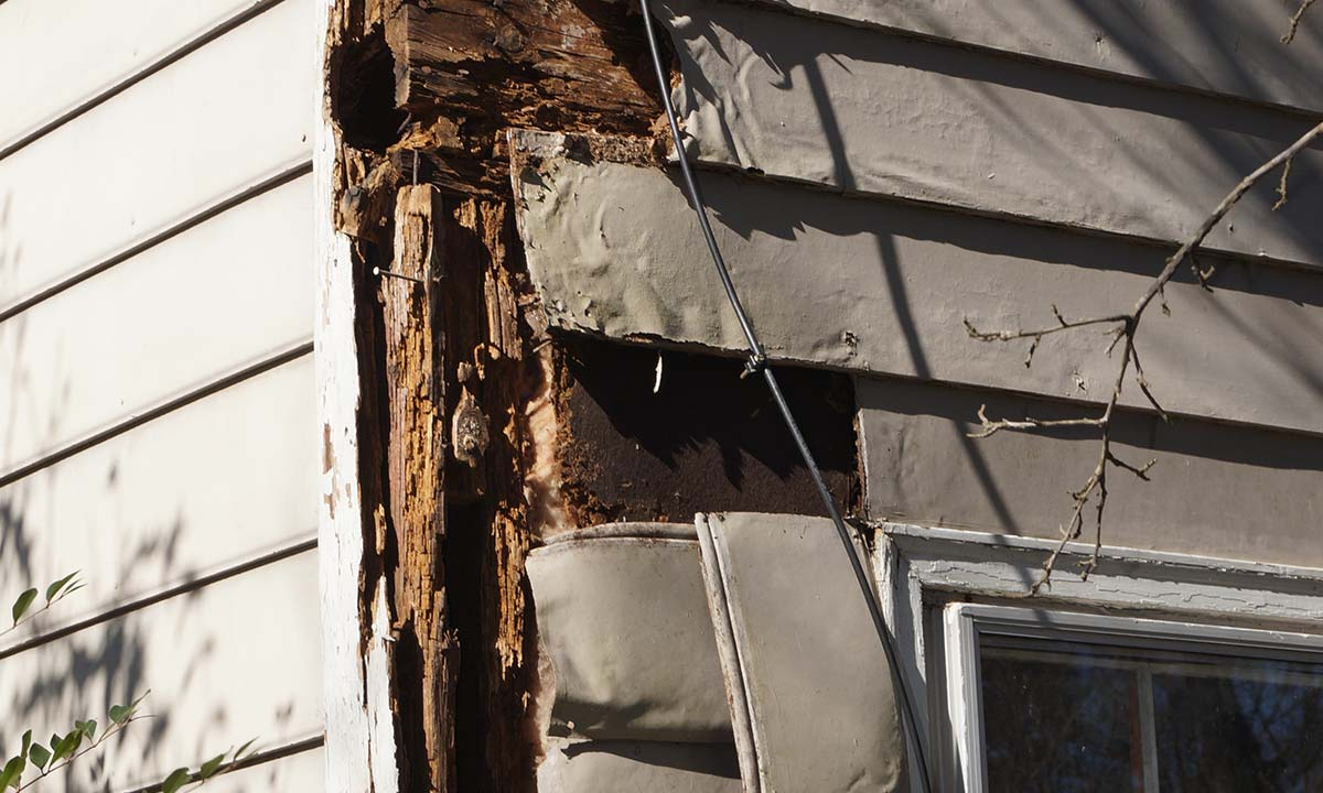 Major structural damage to this home with foundation rot