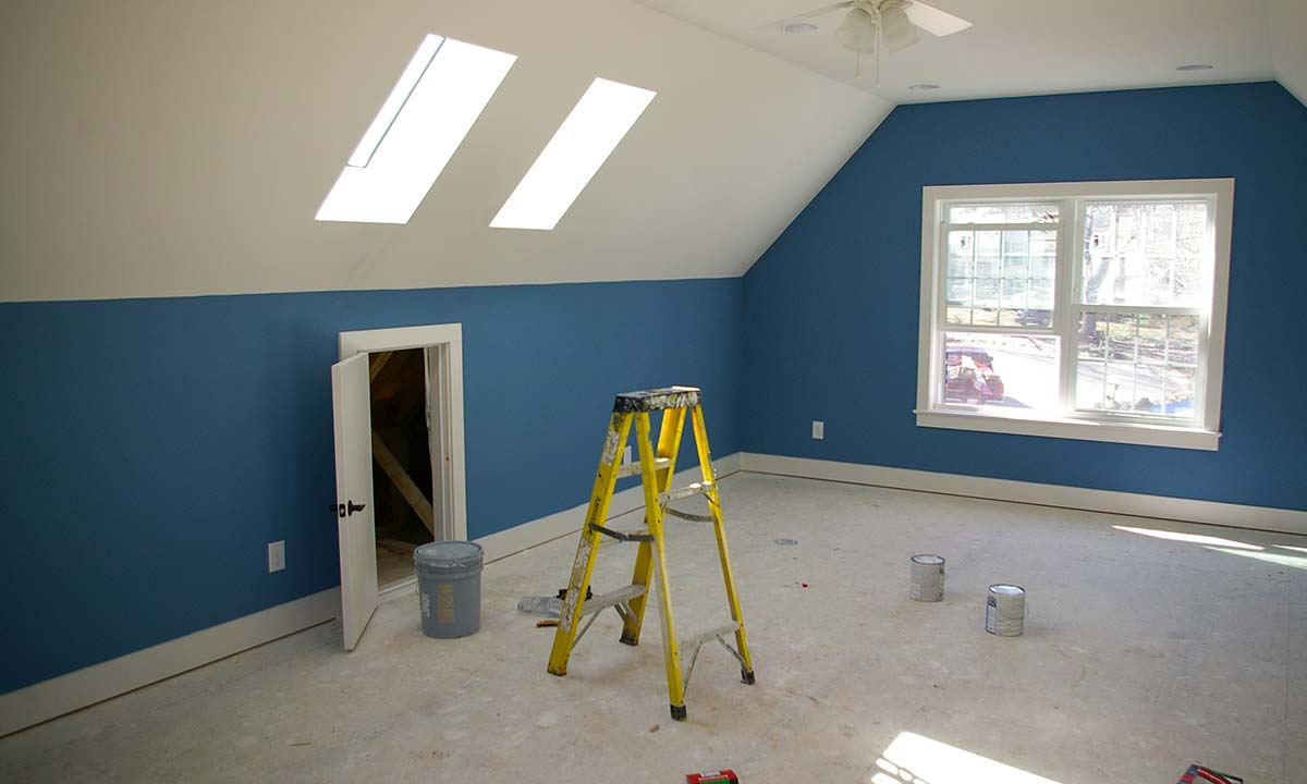 Room above detached garage - photo during construction