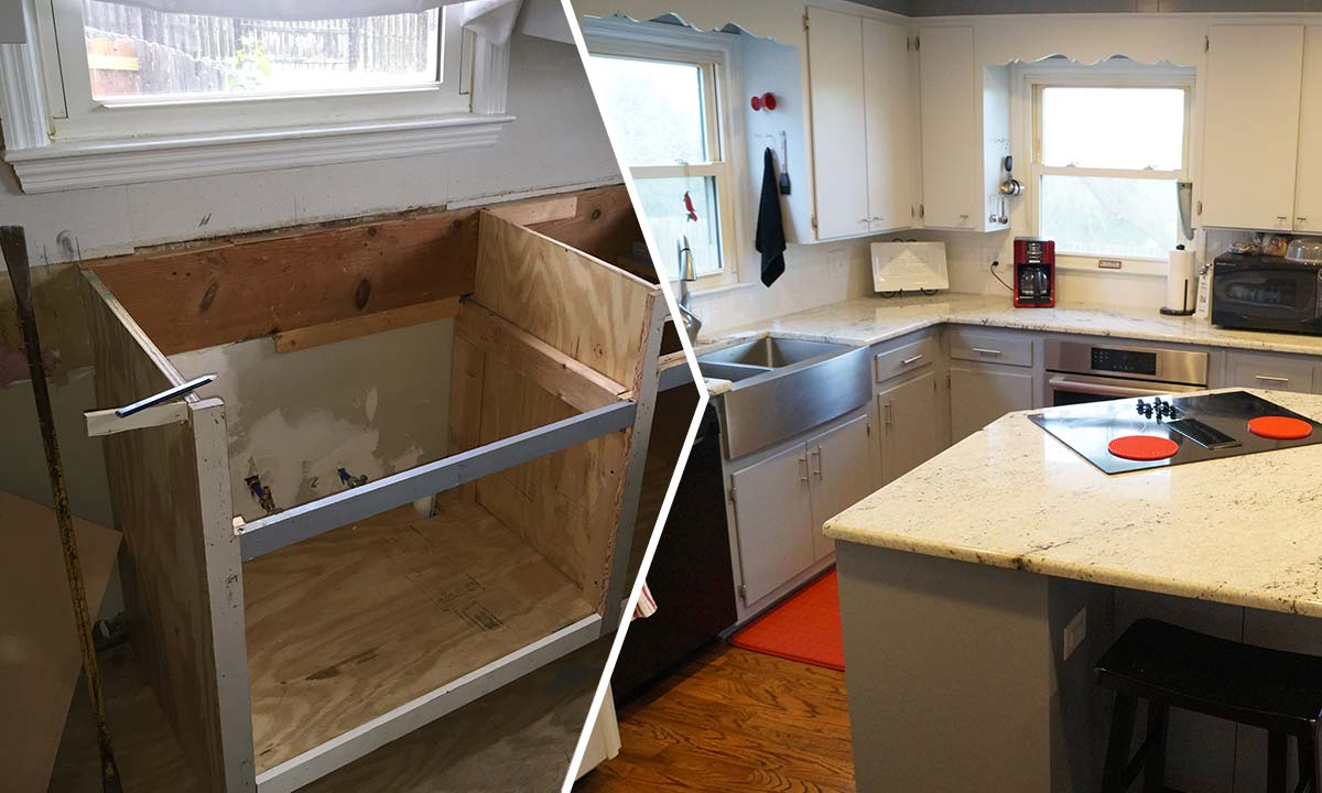Kitchen water damage repair and renovation before and after photo comparison